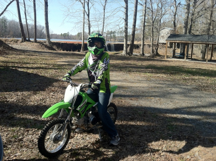 Max on his new dirt bike